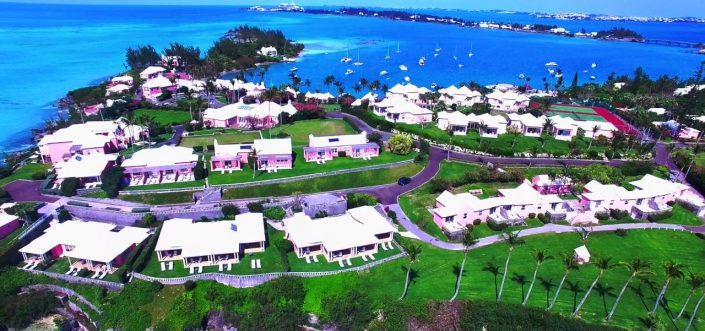 Best of Bermuda home page slider showing aerial view of Cambridge Beaches in Bermuda taken with a drone