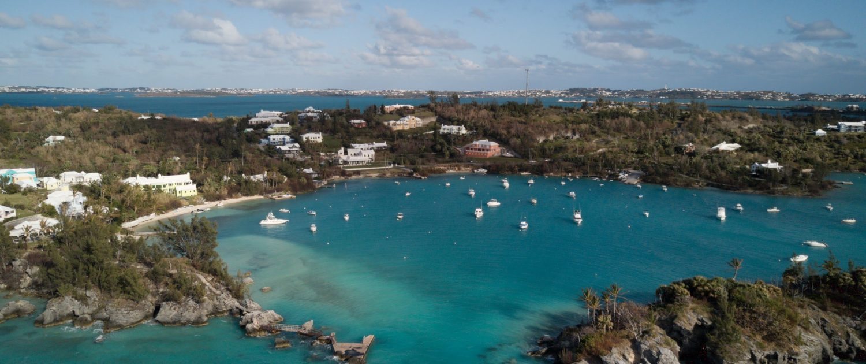 Drone view of Willowbank Resort in Bermuda